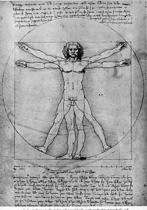 Vitruvian Man, Study of proportions, from Vitruvius's De Architectura