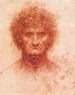 Leonardo Da Vinci - Old man with ivy wreath and lion's head