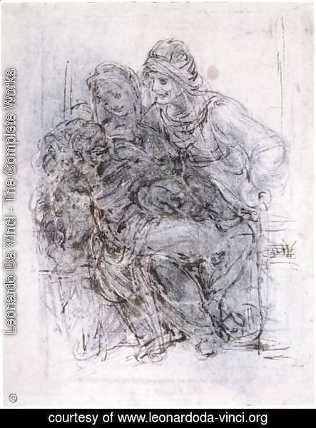 Leonardo Da Vinci - Study of St Anne, Mary and the Christ Child