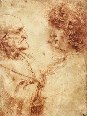 Leonardo Da Vinci - Heads of an old man and a youth