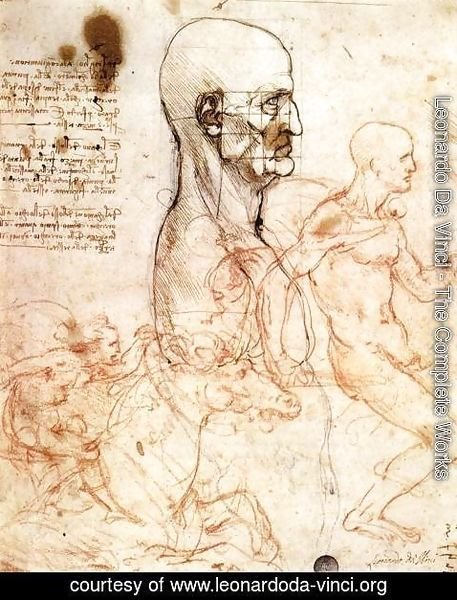 Leonardo Da Vinci - Profile of a man and study of two riders