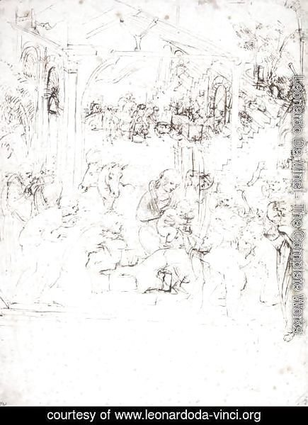 Leonardo Da Vinci - Design for the Adoration of the Magi