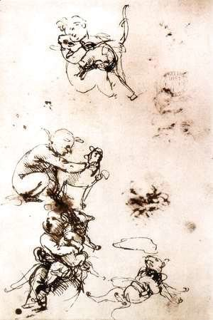 Leonardo Da Vinci - Study of a child with a cat (facsimile)