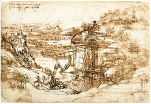 Leonardo Da Vinci - Landscape drawing for Santa Maria della Neve on 5th August 1473