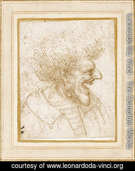 Leonardo Da Vinci - Caricature of a Man with Bushy Hair