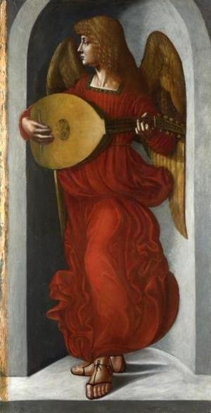 Leonardo Da Vinci - An Angel in Red with a Lute