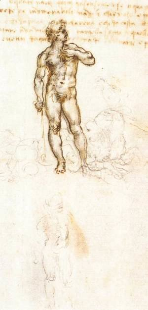 Leonardo Da Vinci - Study of David by Michelangelo (detail)
