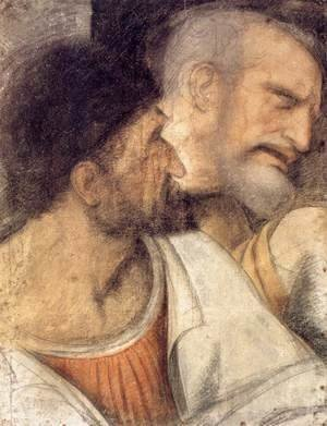 Leonardo Da Vinci - Heads of Judas and Peter