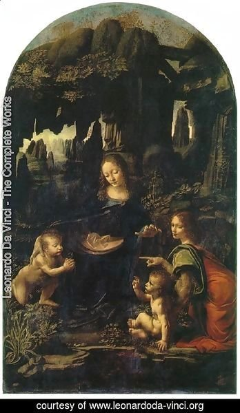Leonardo Da Vinci - Madonna of the Rocks, Scene Mary with baby Jesus, John the Baptist as a child and an angel