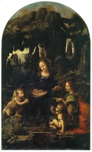 Madonna of the Rocks, Scene Mary with baby Jesus, John the Baptist as a child and an angel