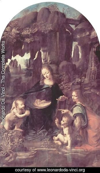 Leonardo Da Vinci - Madonna of the Rocks, Scene Mary with baby Jesus, John the Baptist as a child and an angel 2