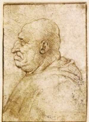 Leonardo Da Vinci - Caricature of a Bald Old Man