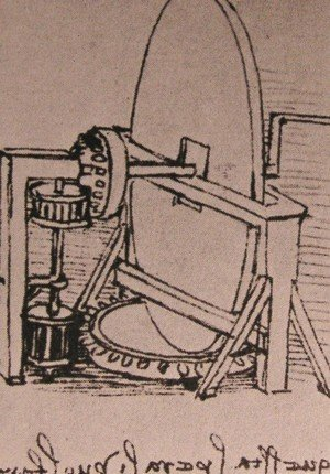 Leonardo Da Vinci - Design for a machine for grinding convex lenses