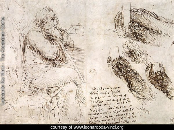 A seated man, and studies and notes on the movement of water
