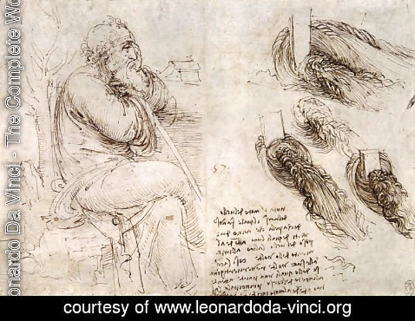 Leonardo Da Vinci - A seated man, and studies and notes on the movement of water