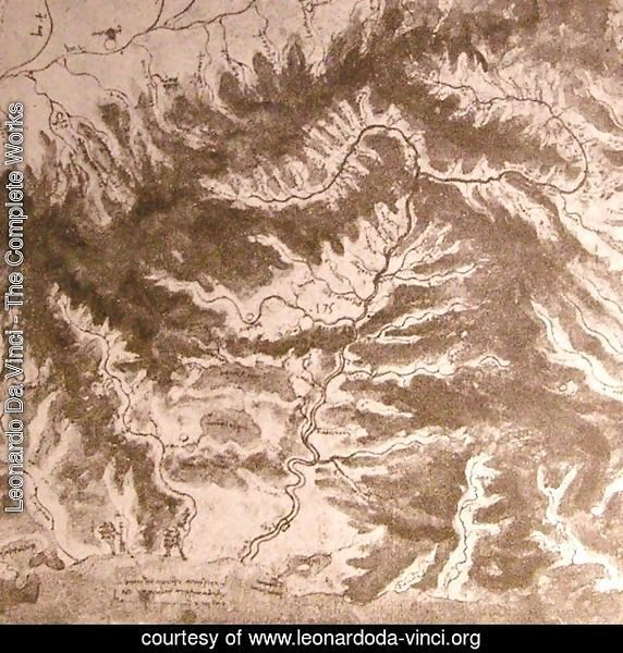 Topographical drawing of a river valley