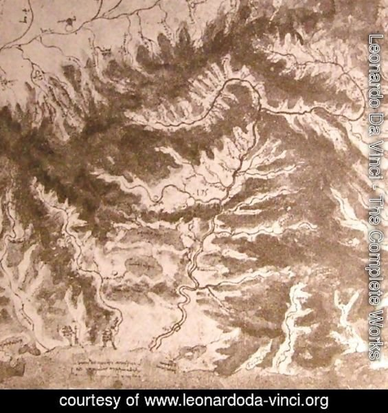 Leonardo Da Vinci - Topographical drawing of a river valley