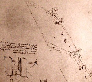 Leonardo Da Vinci - Drawing of locks on a river