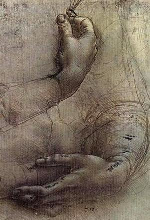 Leonardo Da Vinci - Study of Arms and Hands, a sketch by da Vinci popularly considered to be a preliminary study for the painting 'Lady with an Ermine'