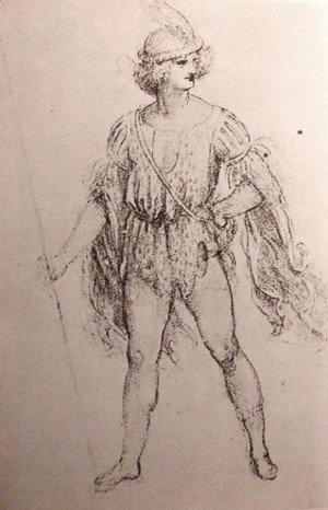 Leonardo Da Vinci - Drawing of a fancy dress costume