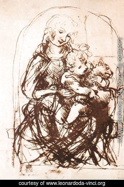 Leonardo Da Vinci - Study Of The Madonna And Child With A Cat