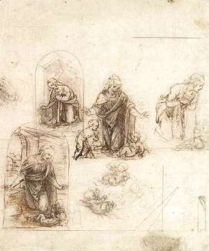 Leonardo Da Vinci - Studies For A Nativity