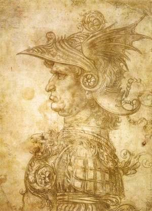 Leonardo Da Vinci - Profile Of A Warrior In Helmet