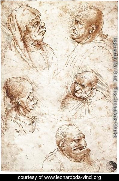 Leonardo Da Vinci - Five Caricature Heads