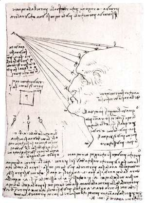 Leonardo Da Vinci - Study Of The Effect Of Light On A Profile Head Facsimile