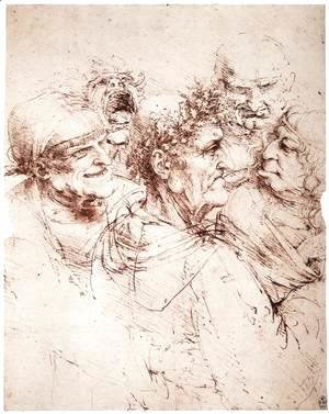 Leonardo Da Vinci - Study Of Five Grotesque Heads