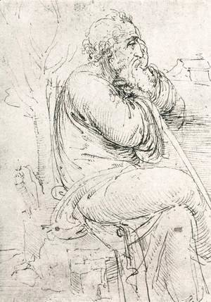 Leonardo Da Vinci - Seated Old Man