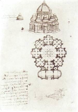 Leonardo Da Vinci - Study Of A Central Church