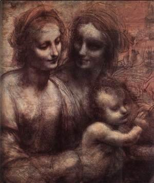 Leonardo Da Vinci - Madonna and Child with St Anne and the Young St John (detail) 1507-08