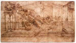 Leonardo Da Vinci - Perspectival study of the Adoration of the Magi c. 1481
