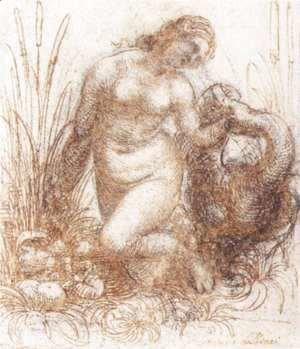 Leonardo Da Vinci - Study for a kneeling Leda 1503-07