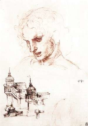 Study of an apostle's head and architectural study 1494-98