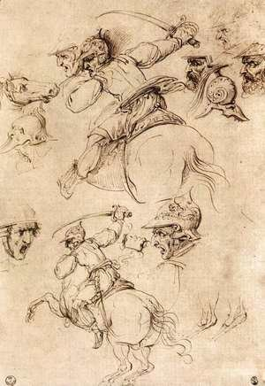 Leonardo Da Vinci - Study of battles on horseback 1503-04