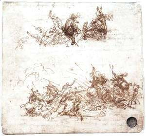 Leonardo Da Vinci - Study of battles on horseback and on foot 1503-04