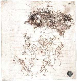 Leonardo Da Vinci - Study of battles on horseback and on foot (2) 1503-04