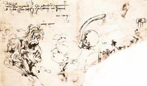 Leonardo Da Vinci - Study sheet (detail) 1478